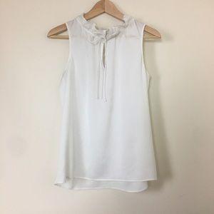 J crew sleeveless ruffle collar blouse size 2